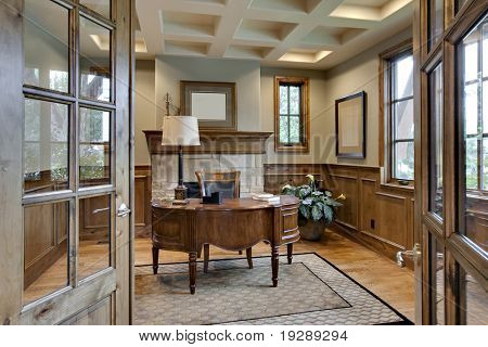 Home Office with Elegant Wood Trim