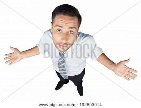 Business man businessman looking at camera arms outstretched white background