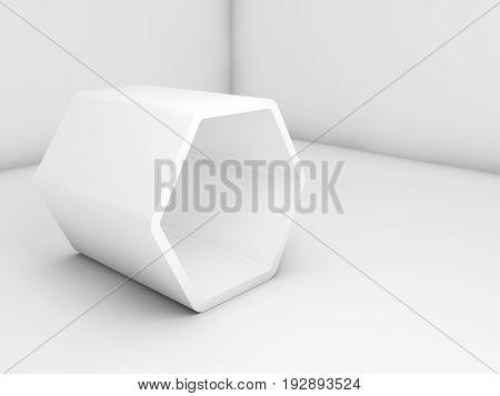 White Hexagonal Installation In Empty Interior, 3 D