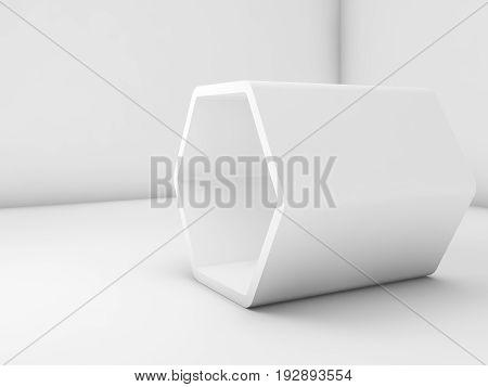 Empty White Hexagonal Installation, Blank Room