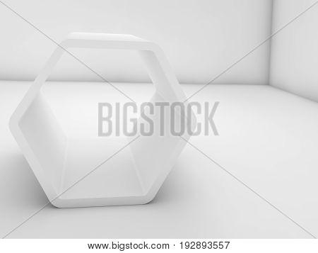 Empty White Hexagonal Installation In Blank Room