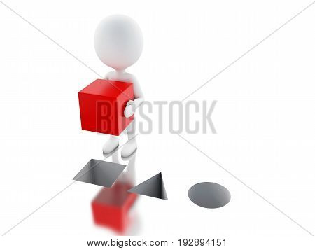 3D White People Putting Red Cube In The Right Hole.