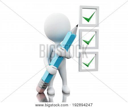 3D White People Marking Ticks In Checklist.