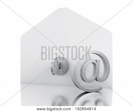 3D Envelope With At Sign And Lock