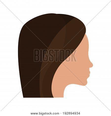 side profile head of faceless woman icon image vector illustration design