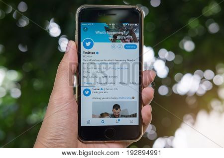 Chiang Mai, Thailand - June 19, 2017: Person Holding A Brand Apple Iphone With Twitter Logo On The S