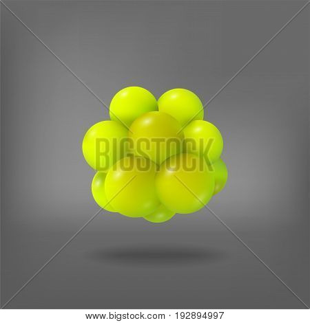 Abstract molecule. Atoms. 3d vector illustration. Science concept Nucleus