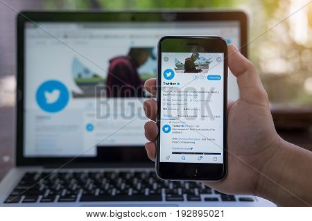 Chiang Mai, Thailand - June 24, 2017: Person Holding A Brand New Apple Iphone  With Twitter Logo On