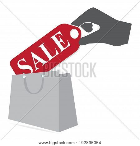Shopping paper bag with sale label in hand icon