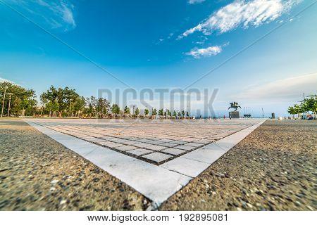 Park at Port of Thessaloniki Paralia Greece - Wide lens shot symmetrical