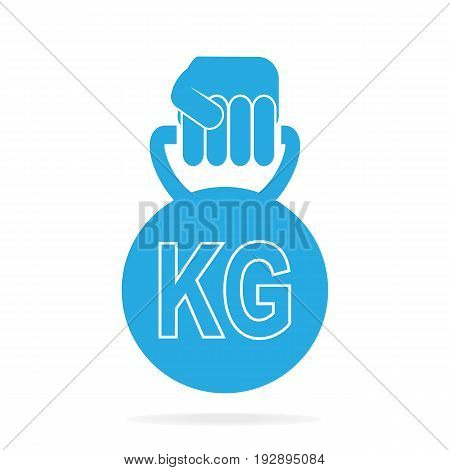 Hand holding with weight icon, vector illustration
