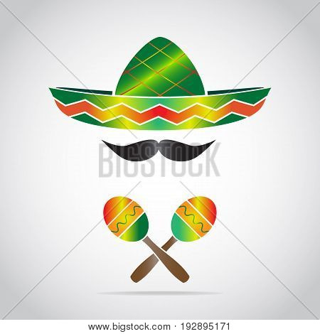 Maracas and hat icon. Mexican style sign
