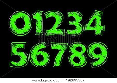 Set of vector numbers, from 1 to 0. Doodle style. Vector illustration