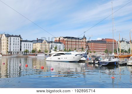 Helsinki Finland. North Harbor in a sunny summer day
