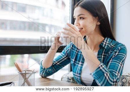 Relaxing place. Positive energetic hardworking woman sitting in her favorite cafeteria and thinking about the day while enjoying the coffee