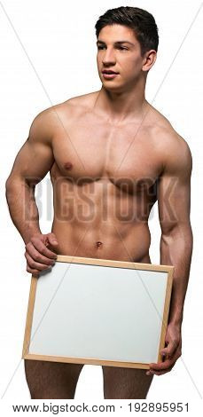 Man hands handsome muscle sport white shape