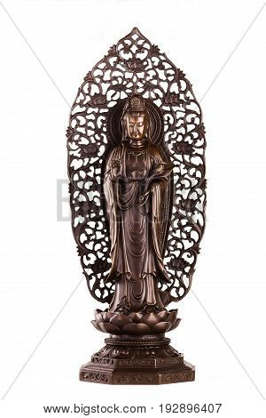 The figure of Bodhisattva Guan Yin - the deity acting mainly in a female appearance saving people from disasters; giver of children patroness of female half of the house. It is known just as Avalokiteshvara bodhisattva.