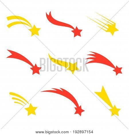 Falling star set. Shooting with visible path of a meteoroid, mysterious and festive decoration, magic sky light for a wish. Vector flat style cartoon illustration isolated on white background