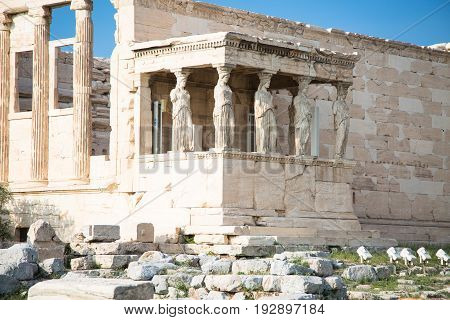Erechtheion with Porch of the Caryatids Acropolis Athens Greece. Ancient ruins Architecture.