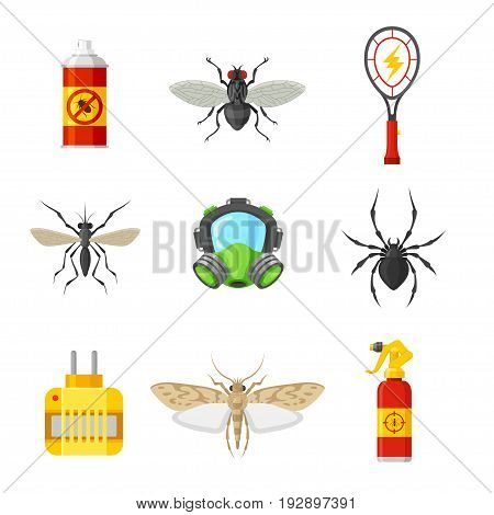 Pest control icon set. Equipment and insects, expert exterminators tools, different sprayers to have home protected. Vector flat style cartoon illustration isolated on white background
