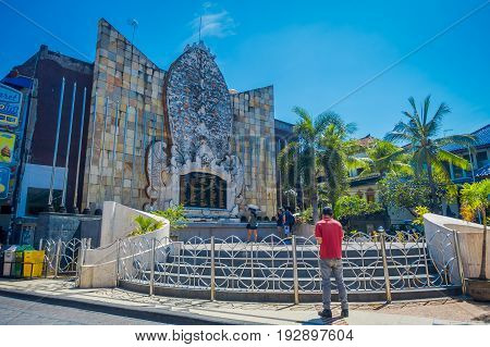 BALI- INDONESIA MARCH 08 2017: An unidentified people in the building of a memorial attack to victims of the Bali bombing taken on Aug. 28 2016.