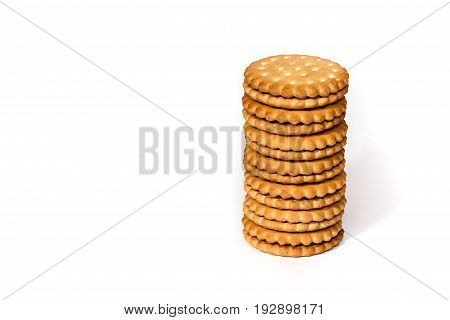 A Stack Of Cicle Biscuits Puff Sandwich Cream Isolated On White