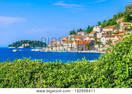 Scenic view at marble landscape and architecture at town Vis, Croatia, summer tourist resort in Europe.
