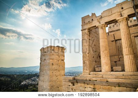 Propylaea of the Acropolis Athens Greece. Ancient Architecture against blue sky.