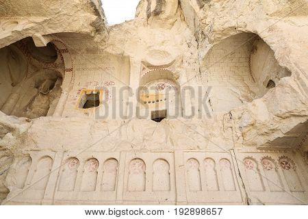 Ruined Ancient Cave Church In Cappadocia, Turkey