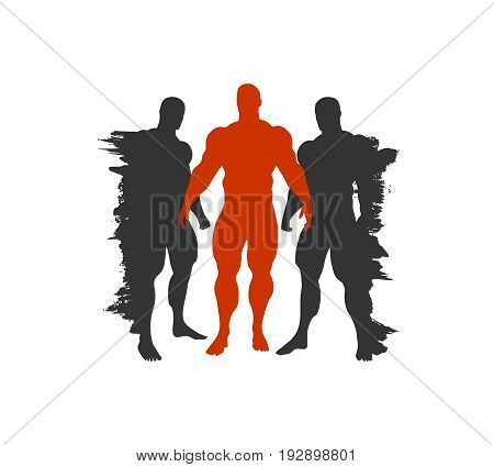 The collection of 3 Body building silhouette. Grunge brush stroke outline.