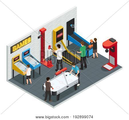Isometric 3d game club interior colored concept people play games in entertainment center vector illustration