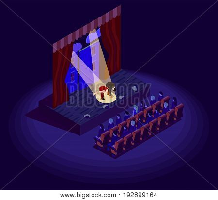 Isometric 2d icon with actors bowing after theatre performance vector illustration