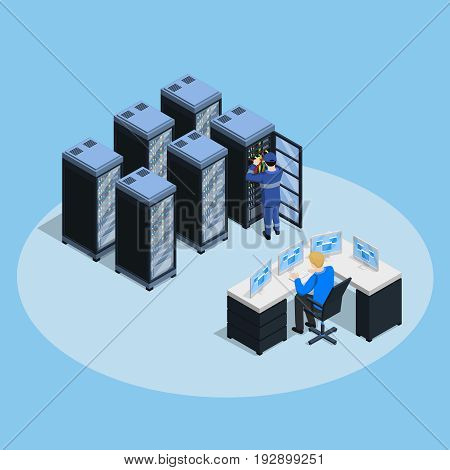 Datacenter composition with isometric server farm rack images network enclosure equipment control board and human characters vector illustration