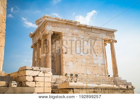 Temple of Nicky Ateros or Athena Nike at the entrance to the Acropolis. Athens Greece.