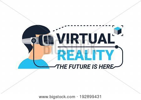 Colored virtual reality logotype with face of guy in glasses and the future is here headline vector illustration