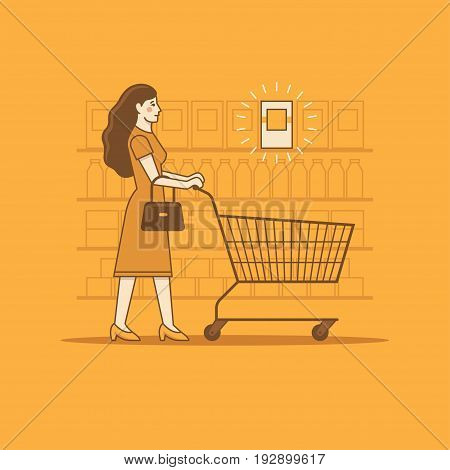 Woman with shopping cart in a grocery store or supermarket looking for a product on sale or low price healthy or high quality food. Linear illustration.