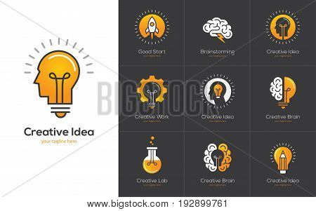 Icons set with brain light bulb human head. Creative idea mind nonstandard thinking logo. Isolated on black background