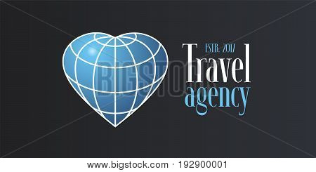 Travel agency vector logo icon. Globe in the shape of heart as a travel concept clipart for banner or sign