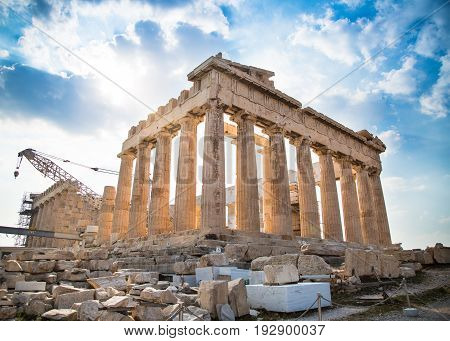 The Parthenon is under reconstruction. Ancient Greek temple Parthenon in Athens on a good day against the blue sky
