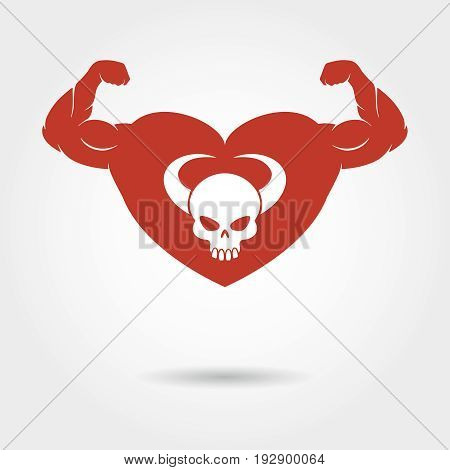 Skull in heart with male biceps logo. Vector strong heart emblem