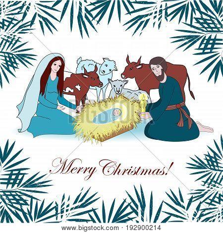 Nativity scene with saint family and animals. Cartoon vector illustration