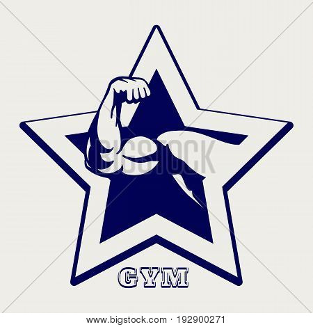 Ballpoint pen color gym poster with male muscule arm, vector illustration