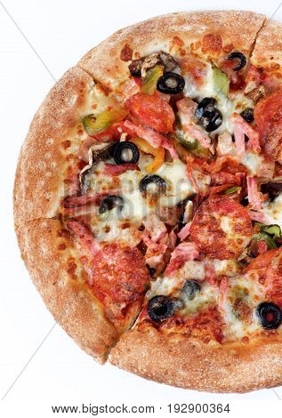Freshly Baked Pepperoni Pizza with Black Olives Ham and Cheese Cross Section on White background