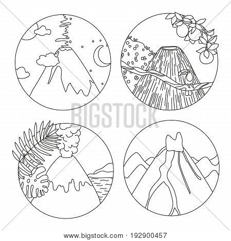 Coloring book page with volcanoes and tropical plants Adult antistress drawing with adventure and travel objects. Black and white hand drawn doodle for coloring book