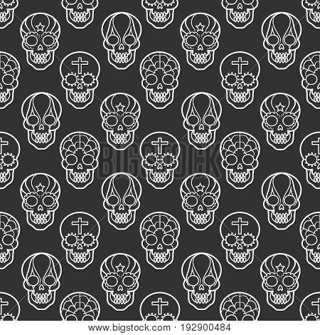 Decorative mexican skulls seamless pattern on black backdrop, vector illustration