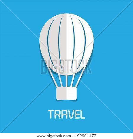 Hot air balloon vector illustration logo. Design element for traveling and journey concept. Aerospace transportation