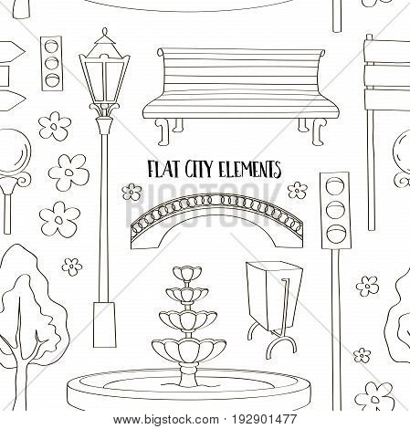 City street urban elements icon set pattern. Lights and outdoor elements for construction of city, park and outdoor landscapes.