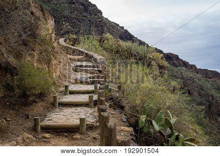 Old steps in Barranco del Infierno hiking path. Adeje, Tenerife, Spain.