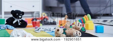 Teddy bears and children's toys on the room floor