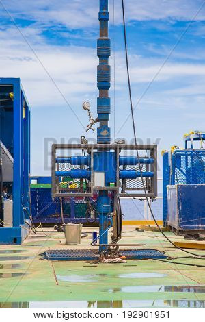 Blowout preventer and lubricator for safety while working on high pressure gas well Oil and gas wellhead remote platform activity.